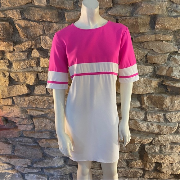 Tobi Dresses & Skirts - Tobi Hot Pink and White Shirt Dress Size 10